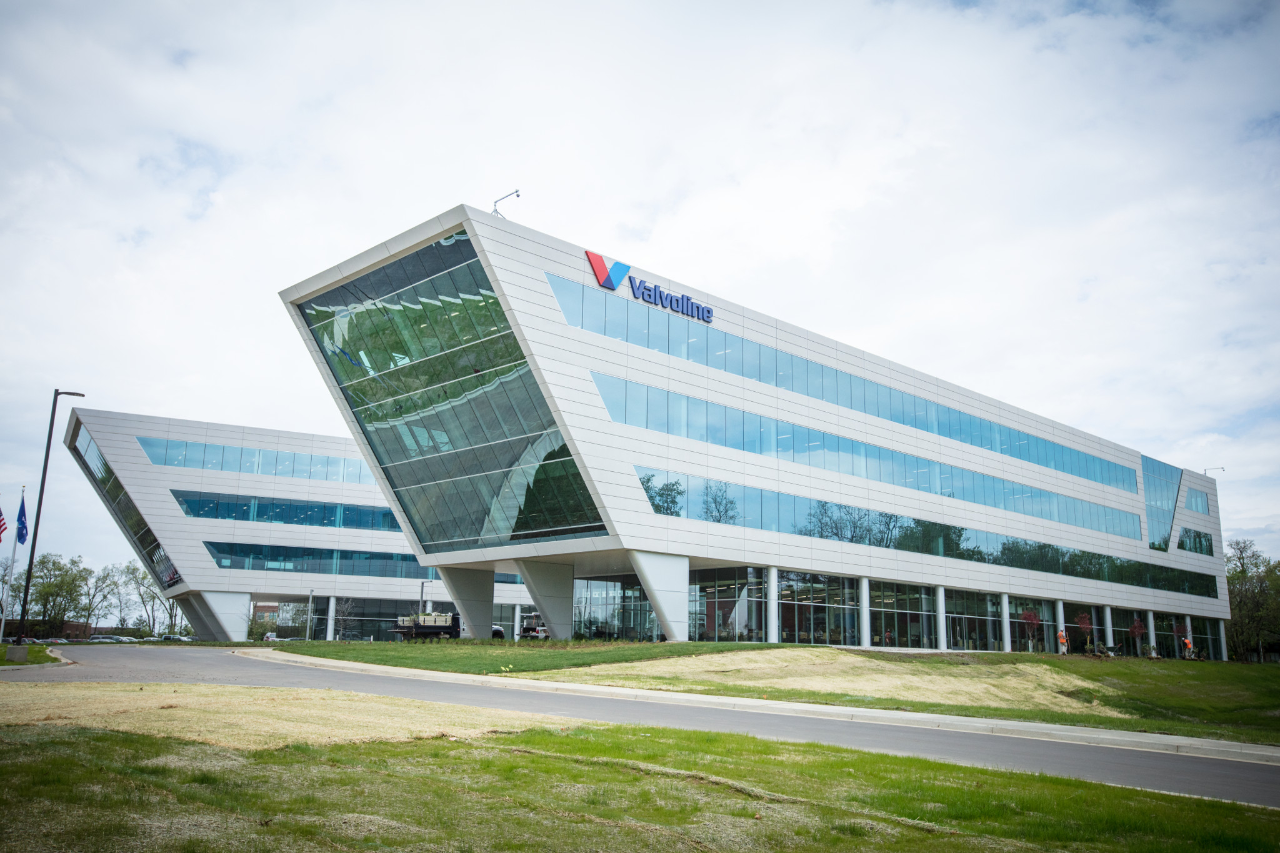 "The headquarters is styled as a ""V"", matching the company's logo as a stylistic choice to stand out."