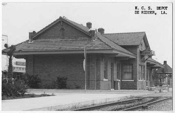 Historic photo of the DeRidder Kansas City Southern Passenger Depot, now the Beauregard Museum.