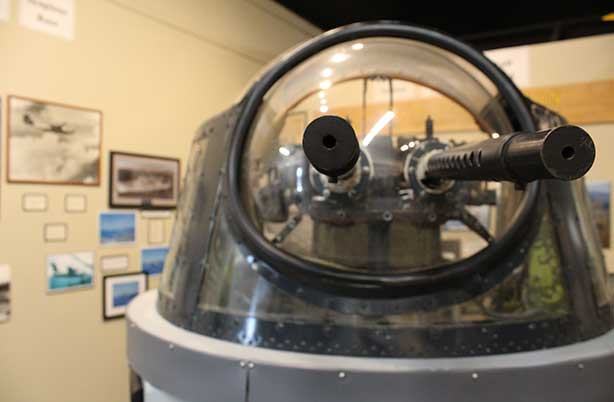 Visitors can go inside this gun turret and move it around.