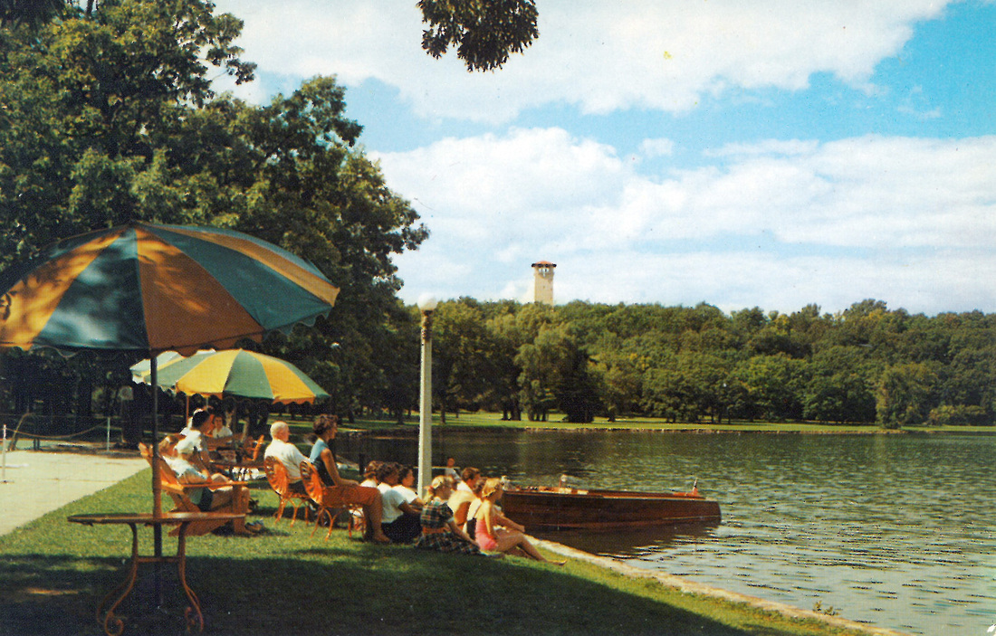 Guests of the Roger Williams Inn enjoying their access to the shore of Green Lake.