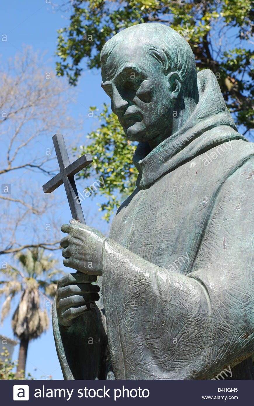 Close-up of the memorial to Serra at the State Capitol Park. Serra's canonization in 2015 by Pope Francis was protested by Native Americans in California, many of whom see Serra as representative of Spain's cruel colonization of their ancestors.