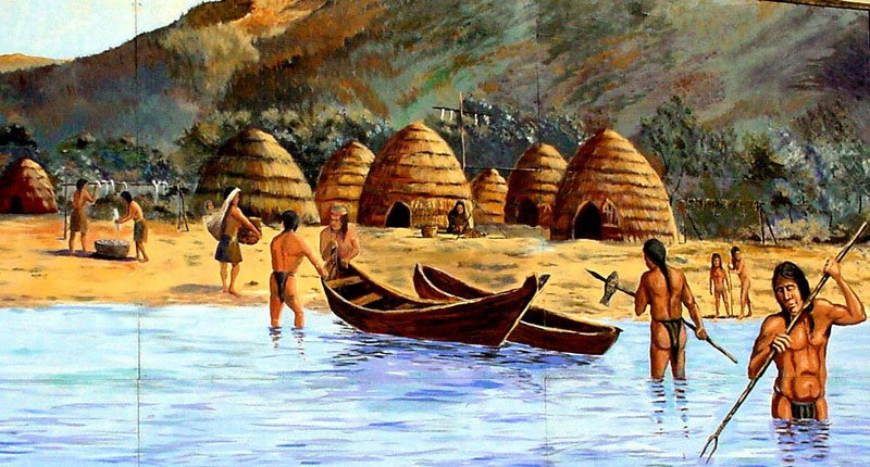 The Chumash Indians were widespread in the coastal regions of southern California and made up a significant portion of the mission populations there. Colonization soon wiped out their former way of life. Painting by Robert Thomas.