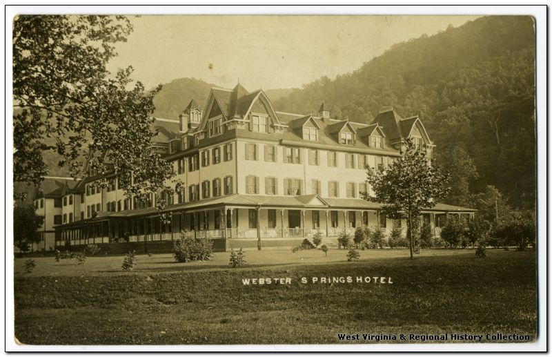 A landscape view of the Webster Springs Hotel