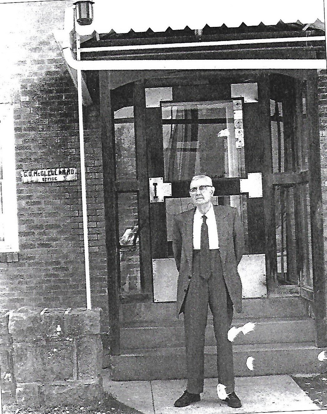 Dr. McClellan in front of his office.  (Courtesy of Lincoln Journal)