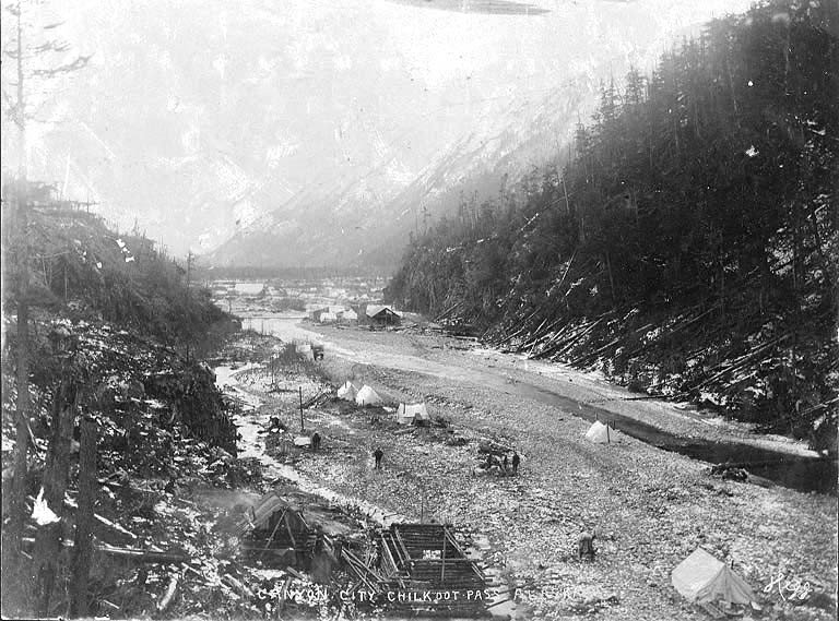 Miners, and their families,settling down for a short period of time in the valley.