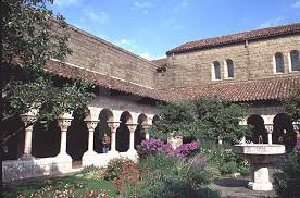 The building incorporates elements from five medieval French cloisters--quadrangles enclosed by a roofed or vaulted passageway