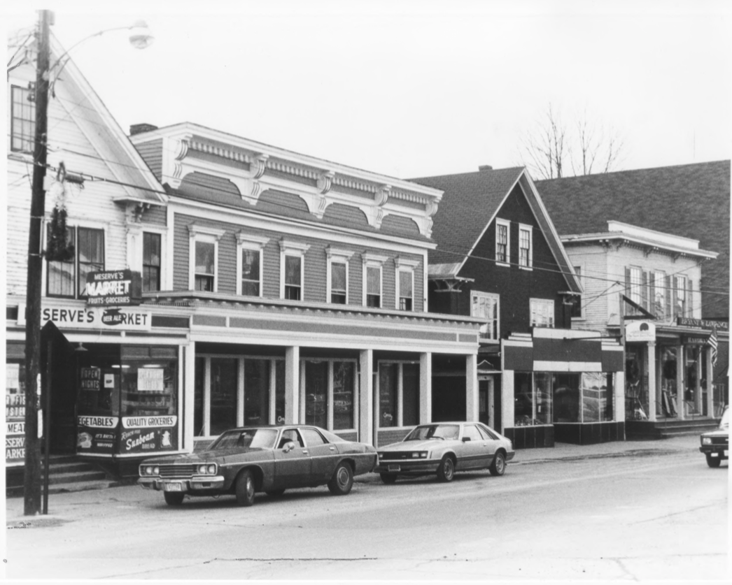 South Side (2) of Main Street incl. Meserve's Store, Copp Block, Page Block, and Bryant and Lawrence, Inc. by Roger P. Akeley on December 15, 1982