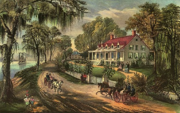 This is a lithograph by Currier and Ives of the Woodland Plantation.   It was used by Southern Comfort as an image on their whiskey bottles dating back to 1934.