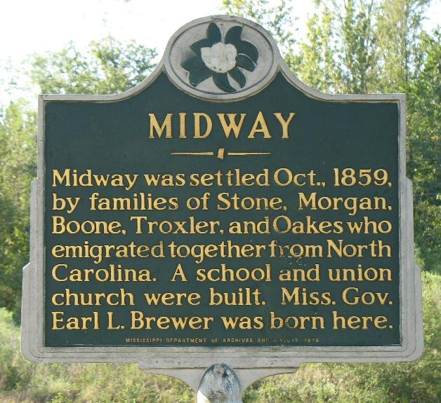The plaque given to Midway by the Mississippi Department of Archives and History during the late 1970s.