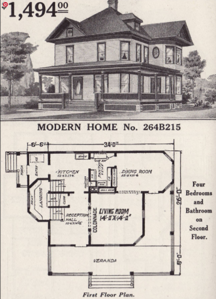 A reproduction of the catalog presentation of the 'Queen Anne' model plans.