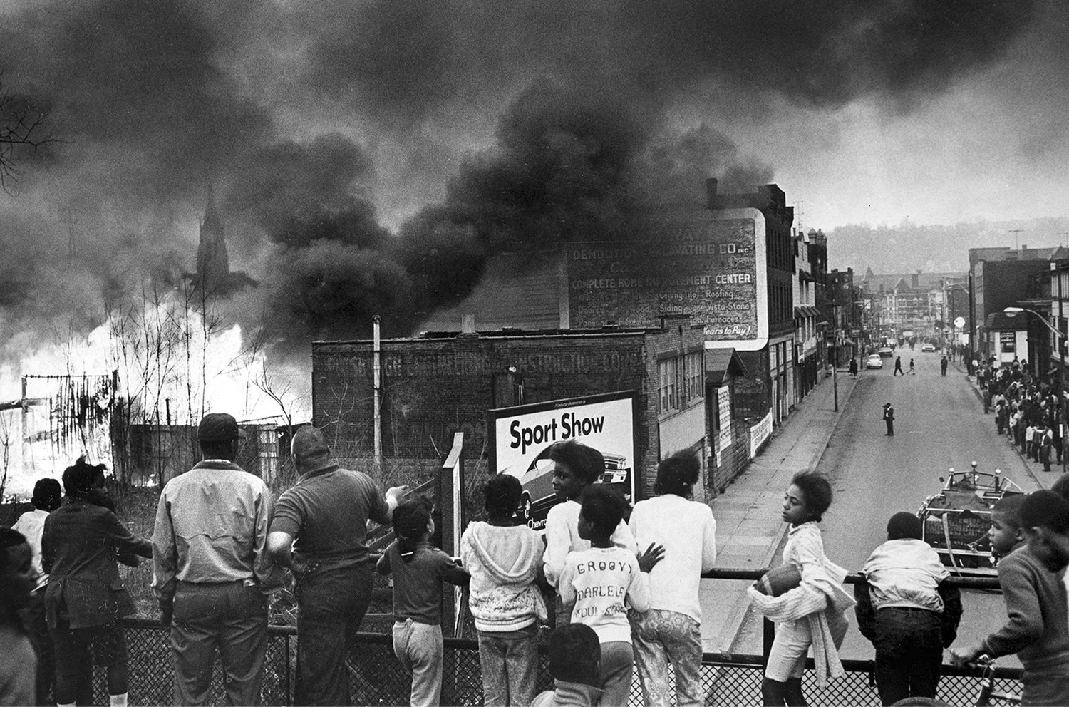 Fire from the lumberyard rages on Homewood Ave, April 1968
