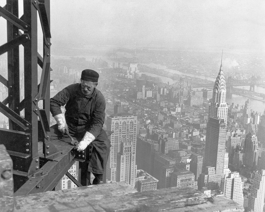 Photograph of a worker during construction in 1930.