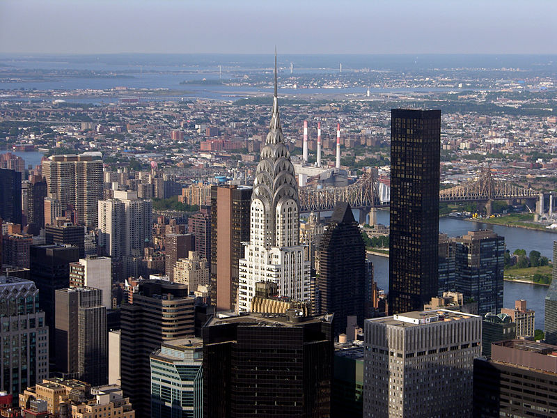 The Chrysler Building as seen from the Empire State Building, the Chrysler's successor as world's tallest building.