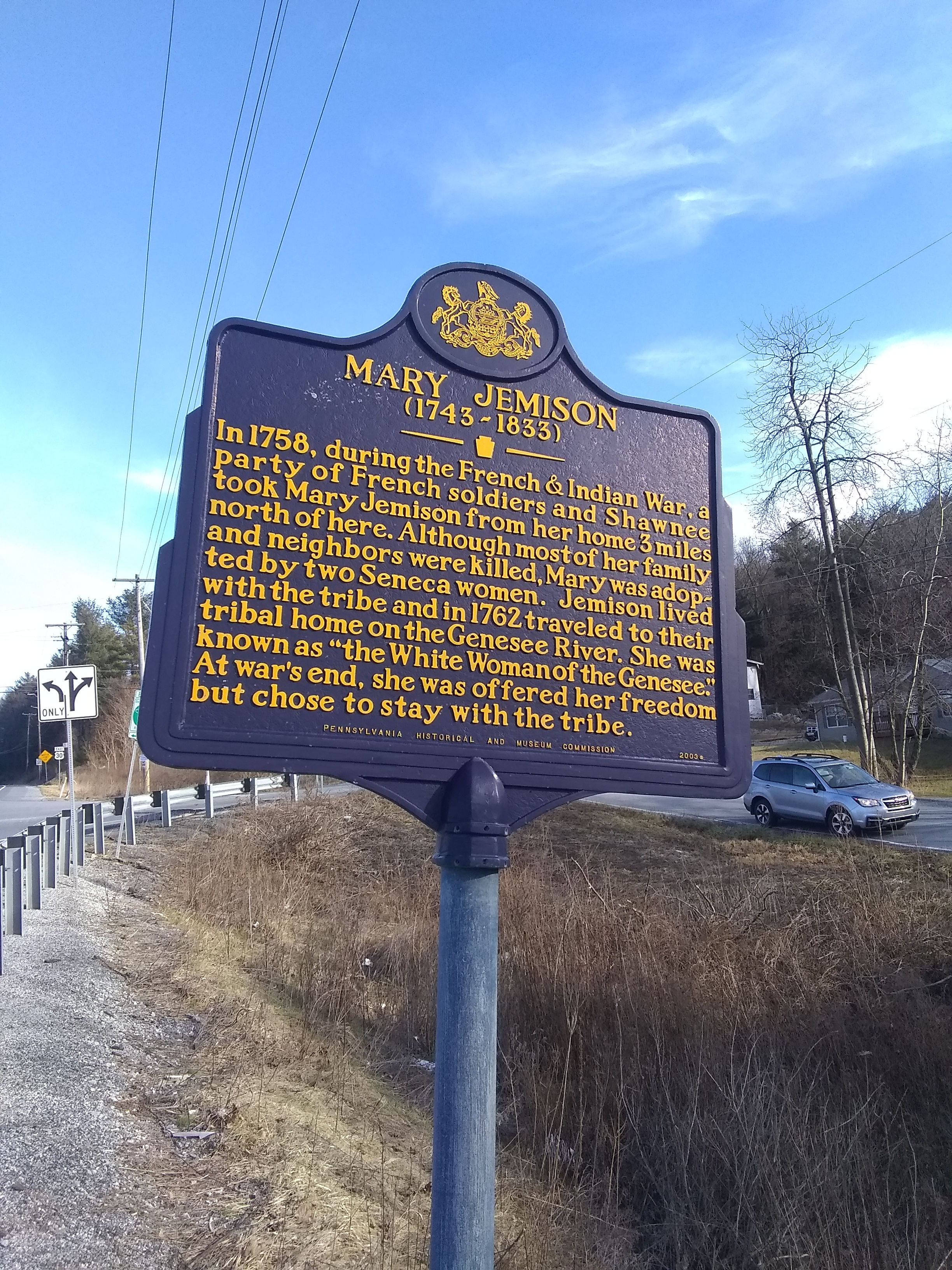 PA Historical Marker along US Route 30