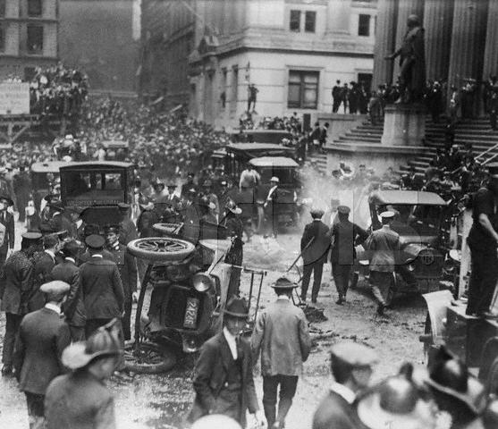 On September 16, 1920, a person or persons unknown exploded a bomb in front of 23 Wall Street, then as now the offices of J.P. Morgan Inc., causing 400 injuries, some of them horrific, and 38 deaths.