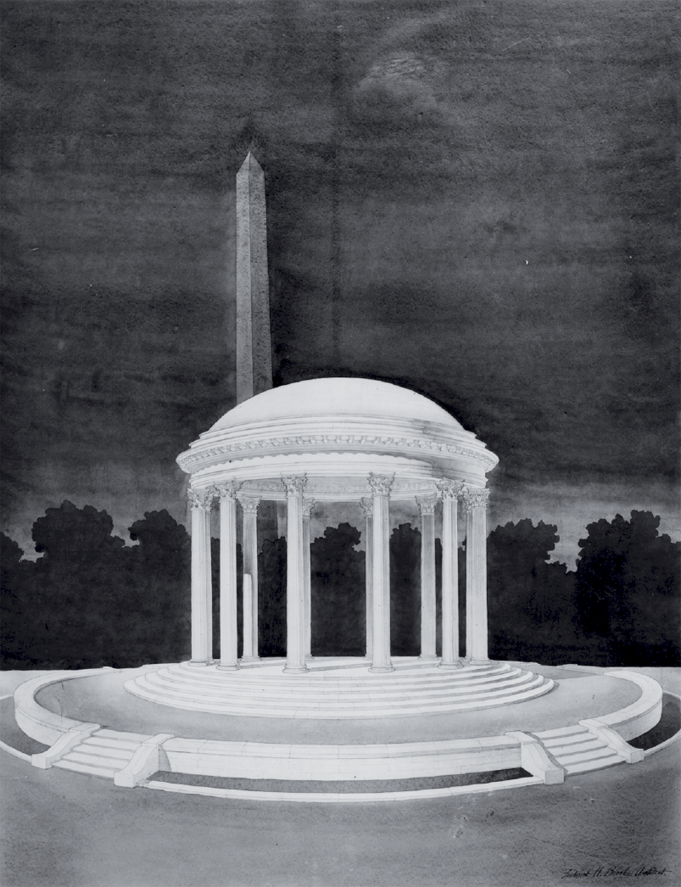 Early rendering of the District of Columbia War Memorial by Frederick H. Brooke. Courtesy of the National Park Service and Commission of Fine Arts.