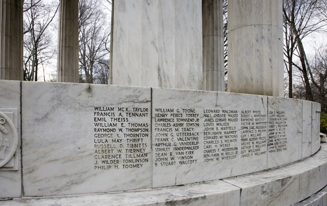 499 names of fallen service members are listed alphabetically on the memorial. Photo courtesy of the National Park Service.