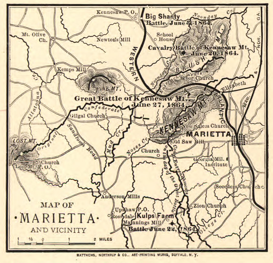 Map of Marietta in 1864