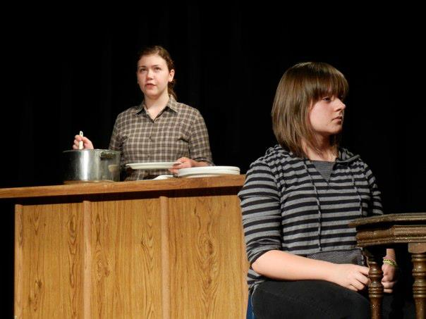 A scene from Covered Bridge Teen's Theater's performance on Anon(ymous) in 2011, directed by Sharon Stolarz.