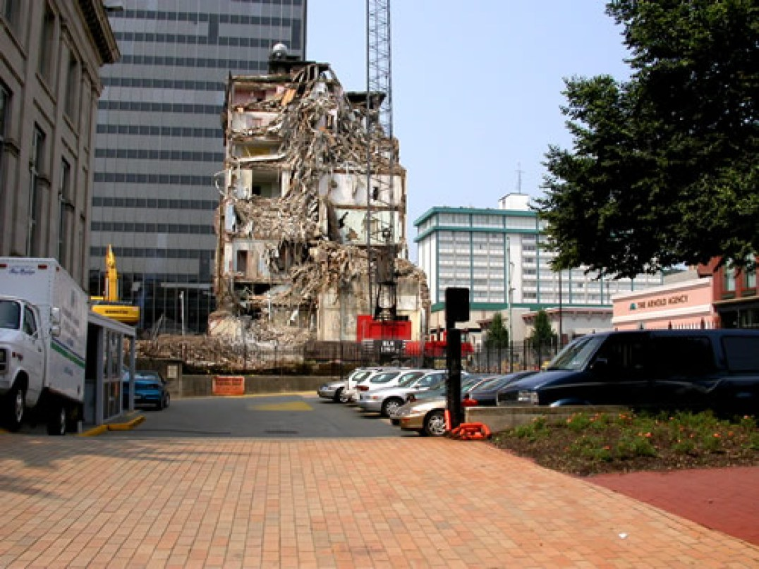 Demolition of the hotel in the early 2000s.