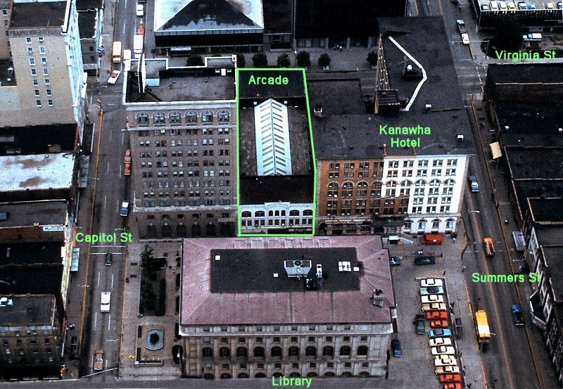 Aerial view of both the Arcade and the Hotel Kanawha. The Arcade was to be demolished and replaced with a parking lot for the restored hotel.