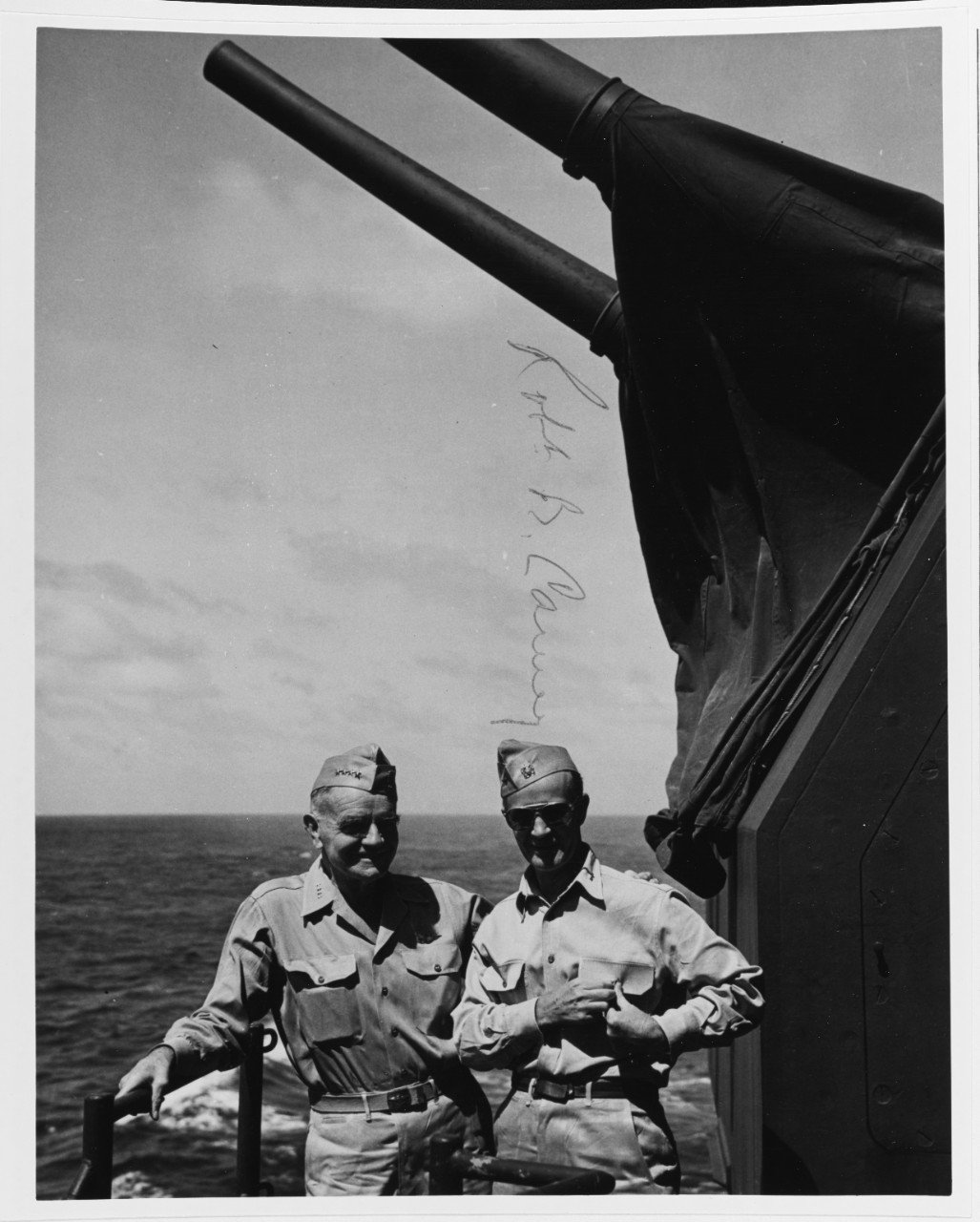 "Admiral William ""Bull"" Halsey and Rear Admiral R.B. Carney on the deck of the USS New Jersey in 1944. New Jersey could often be found at the center of the action throughout the Pacific Theater during World War II. (NHHC)"