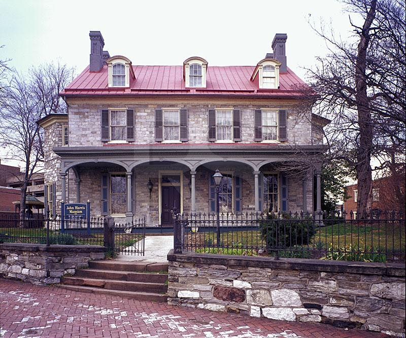 A head-on view of the Harris-Cameron Mansion, the beginnings of which date back to 1766.