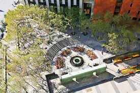 An aerial photo of the Memorial Plaza