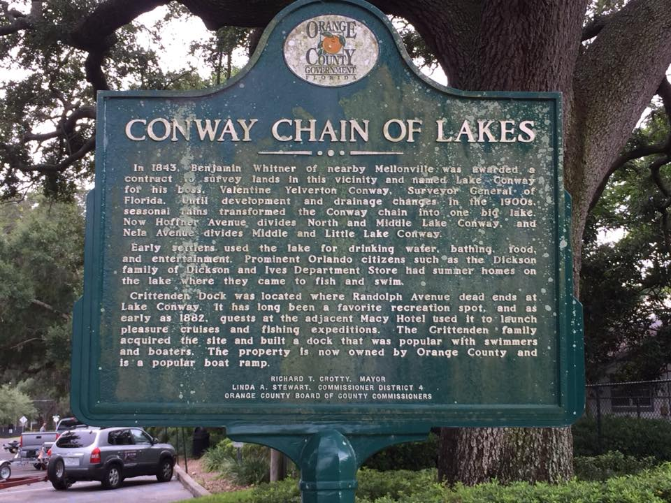 Orange County historical marker at the Randolph Boat Ramp details the impact of the Conway Chain of Lakes on the region.