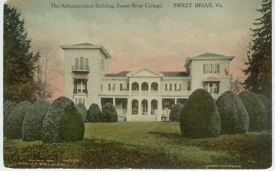 Historic postcard, Sweet Briar House, c. 1906.