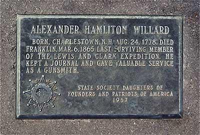 Marker at the grave of Alexander Hamilton Willard
