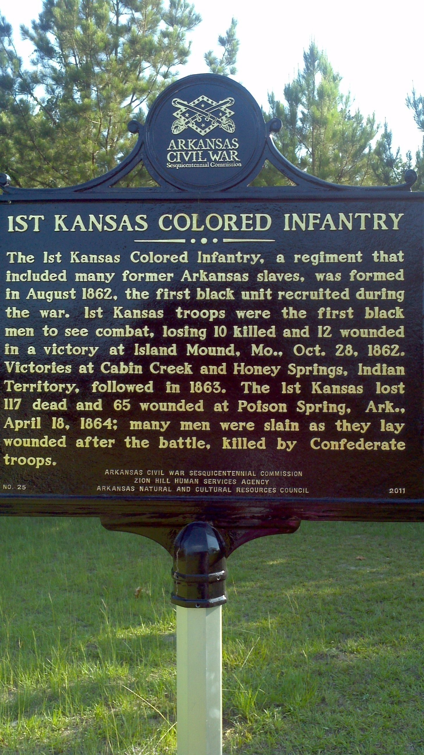 The marker of the 1st Kansas Colored Infantry