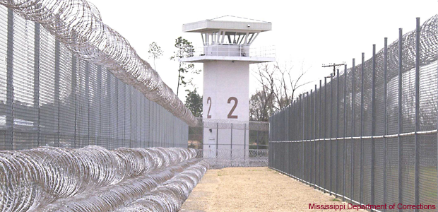 Guard Tower between the two fences that keep the inmates from being able to escape