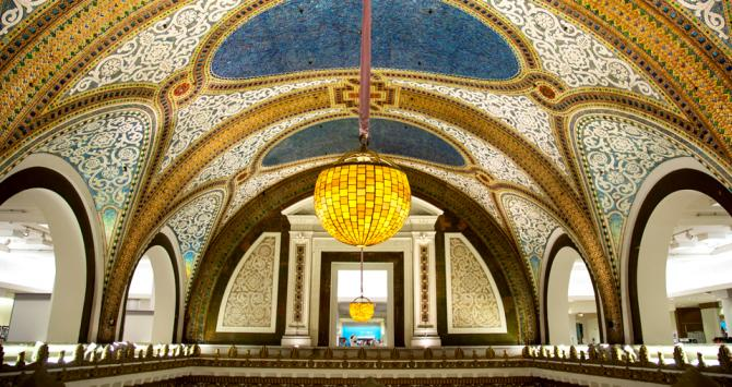The store's vaulted ceiling, made of the largest Tiffany glass mosaic in the world