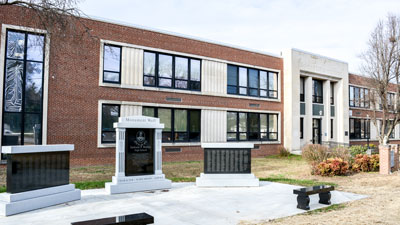 Burley Middle School and monuments