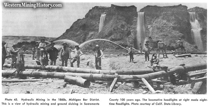 Hydraulic mining at this location in the 1860s.