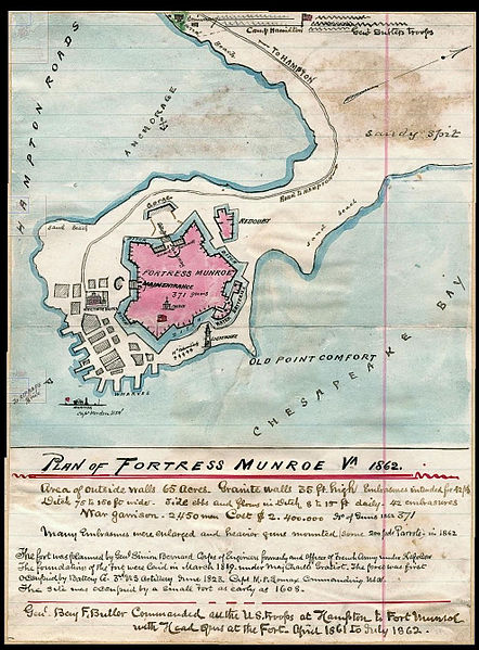 A watercolor map of the fort drawn during the Civil War bearing detailed notes on population and armaments contained within.