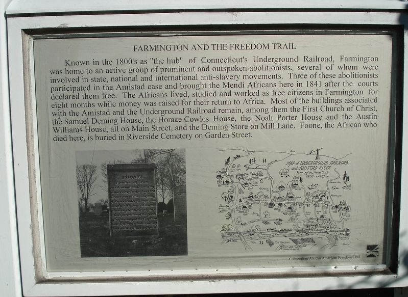 Marker detailing various places around Farmington in relation to abolitionist areas.