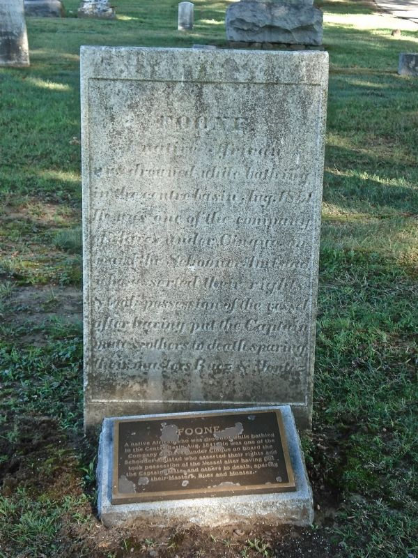 Grave of the rebel who assisted Cinque in his rebellion on the La Amistad slave ship.