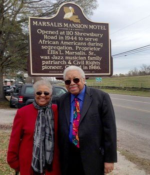 Ellis Marsalis Jr and his sister Yvette Washington at the dedication of the historical marker for his family's famous motel.