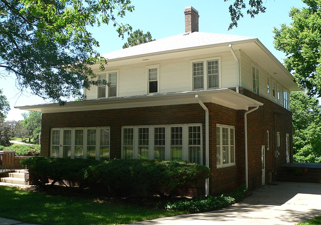 """Bess Streeter Aldrich's house, """"The Elms,"""" as viewed from the southeast"""