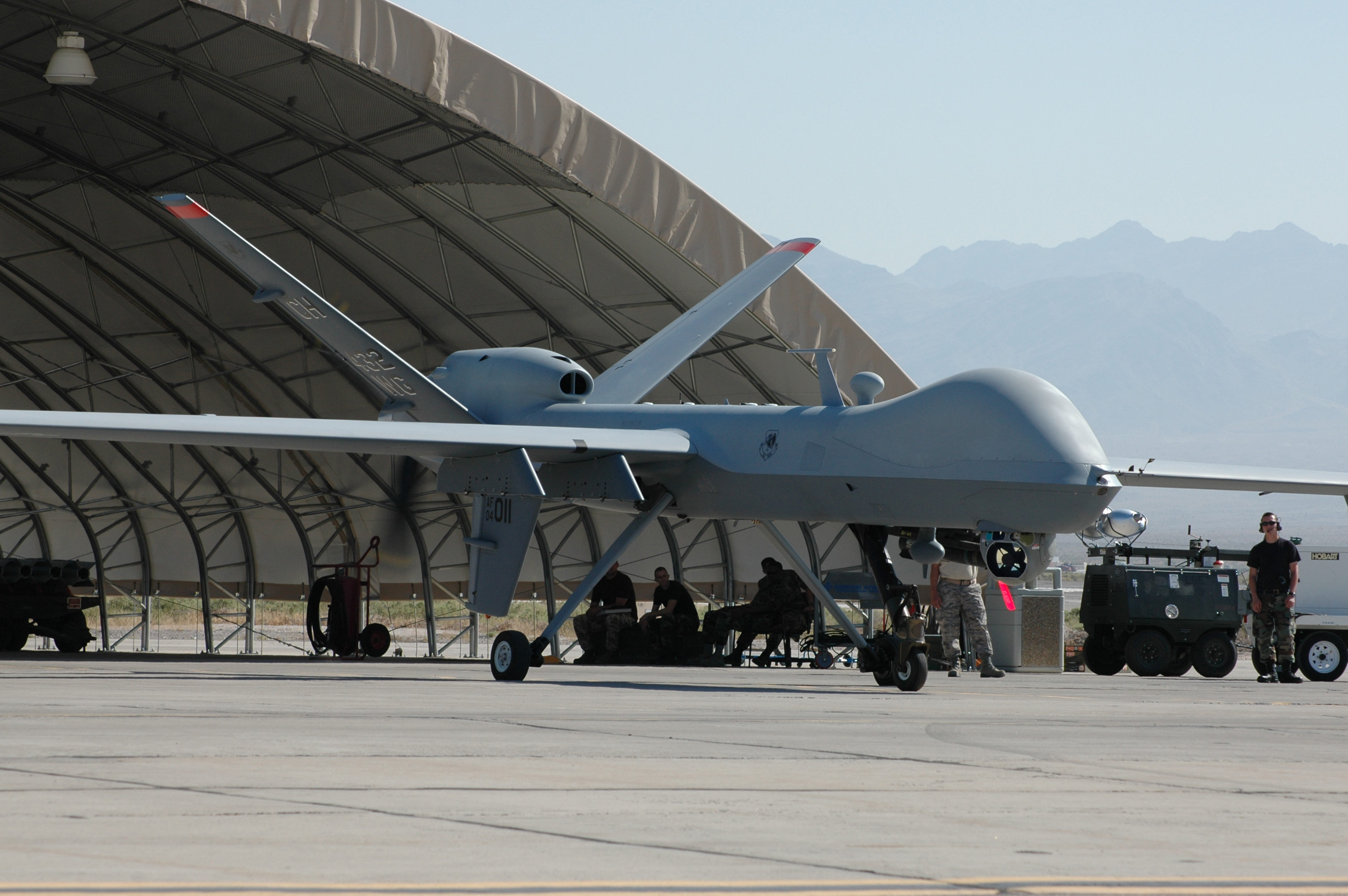 A reaper coming out of the hangar.