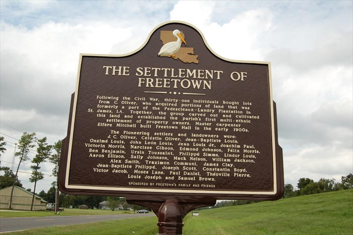 The historical marker dedicated to the Settlement of Freetown (St James Parish). Image from waymarking.com