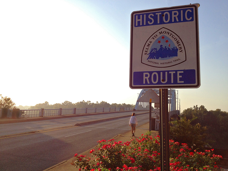 The Selma to Montgomery National Historic Trail is dedicated to 54 miles of Highway 80 used by civil rights activists as they marched from Selma to Montgomery to achieve voting rights.