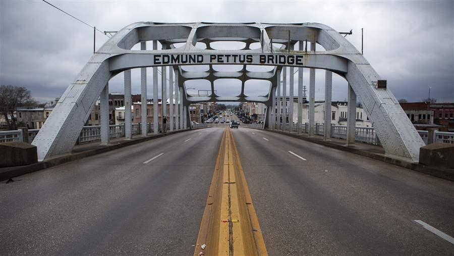 """On March 7 marchers were met with violence at the Edmund Pettus Bridge when they attempted their first march; because of the violence of this day, March 7, 1965 became known as """"Bloody Sunday."""""""