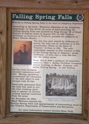 Close-up of the historical marker for Falling Spring Falls