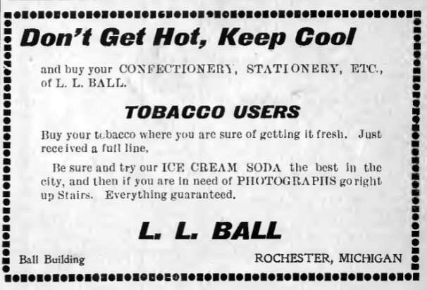 Newspaper ad for L.L. Ball's confectionery and tobacco shop, Rochester Era, August 29, 1902
