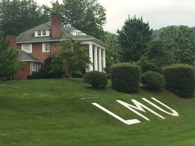 The LMU letters as they appear today below the President's House.