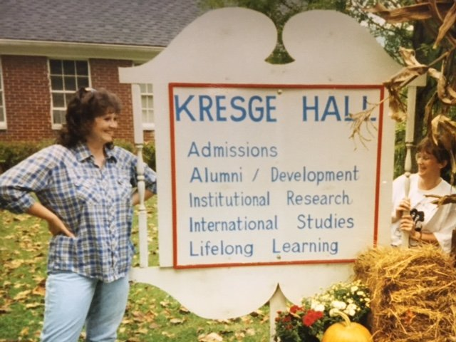 The welcome sign to Kresge Hall.