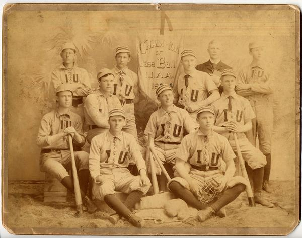 The 1892 Indiana Intercollegiate Athletic Association Baseball team champions pictured in their uniforms.